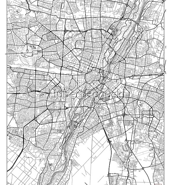 Munich Map Minimal by HubertRoguski