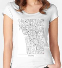 Porto Map Minimal Women's Fitted Scoop T-Shirt