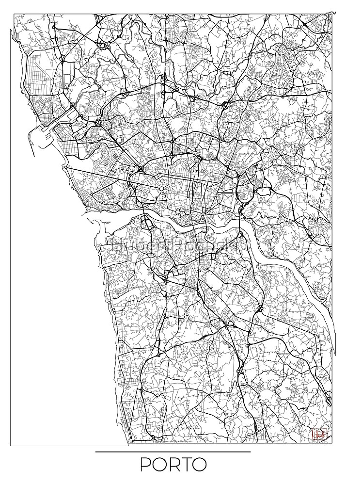 Porto Karte Minimal von HubertRoguski