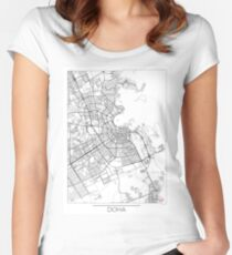 Doha Map Minimal Women's Fitted Scoop T-Shirt