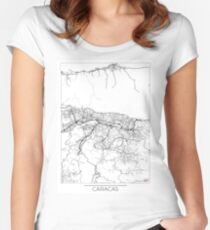 Caracas Map Minimal Women's Fitted Scoop T-Shirt