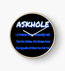 ASKHOLE BLUE Clock