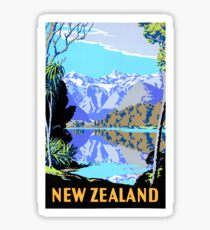 New Zealand Lake Matheson Vintage Travel Poster Sticker