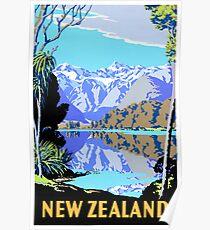 Póster Cartel de viaje de Nueva Zelanda Lake Matheson Vintage