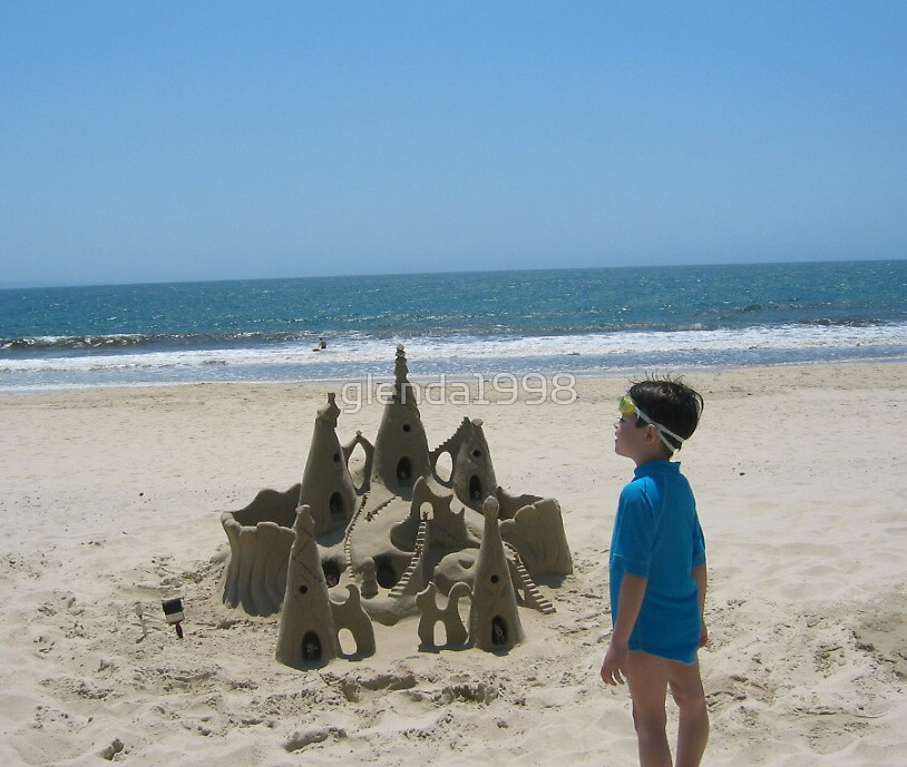 boy with the sand castle by glenda1998