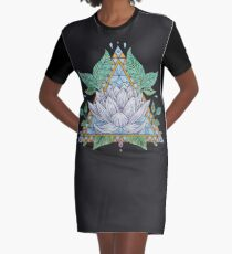 Stained Glass Lotus Illustration Graphic T-Shirt Dress