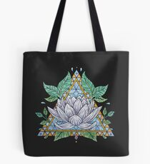 Stained Glass Lotus Illustration Tote Bag