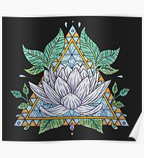 Stained Glass Lotus Illustration Poster