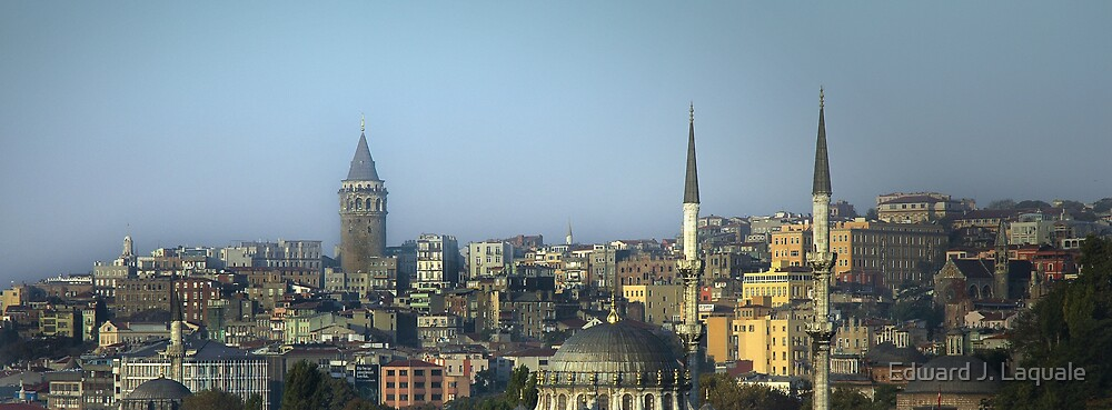 ISTANBUL URBANSCAPE WITH GALATA TOWER by Edward J. Laquale
