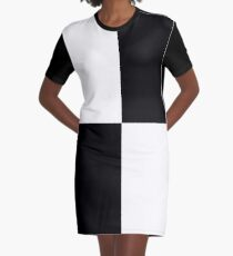Black and White Checks Graphic T-Shirt Dress