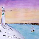Winter Lighthouse Sunset Watercolor by daphsam