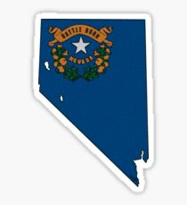 Nevada Map With Nevada State Flag Sticker
