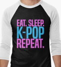 Eat. Sleep. K-Pop. Repeat. Cute Kawaii Men's Baseball ¾ T-Shirt