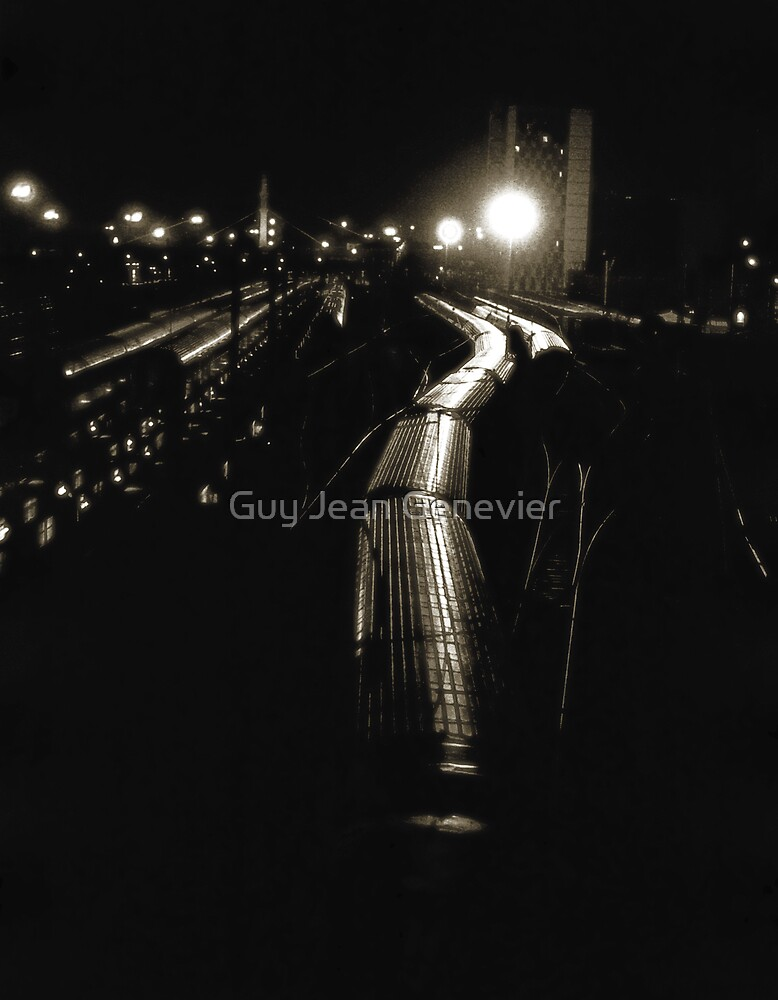 Train station at night by Guy Jean Genevier