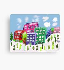 Snowy city scene Canvas Print