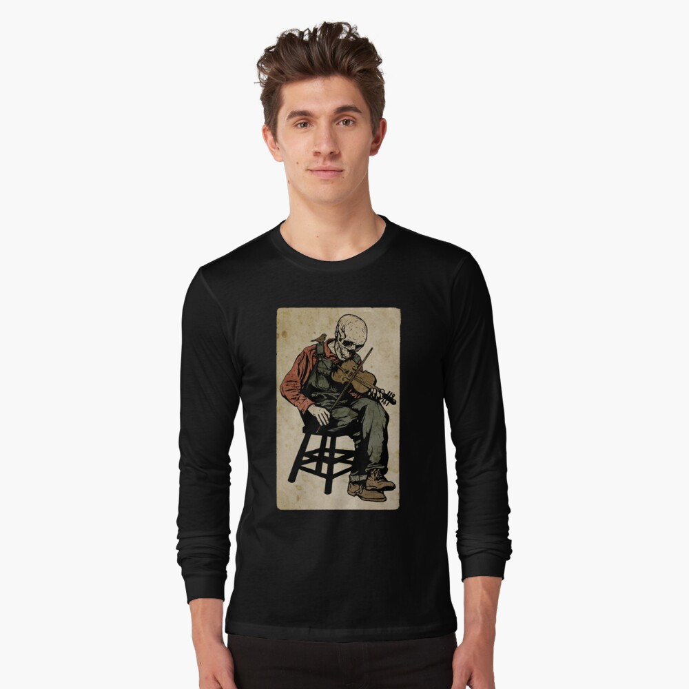 The Death Fiddler And His Sparrow Companion Long Sleeve T-Shirt