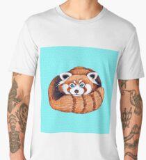 Cute Red Panda Turquoise Ink Art Men's Premium T-Shirt