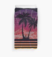 Funda nórdica Moderno Retro 80s Outrun Puesta de sol Palm Tree Silhouette Original