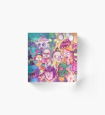 Rick and Morty Doodle Acrylic Block