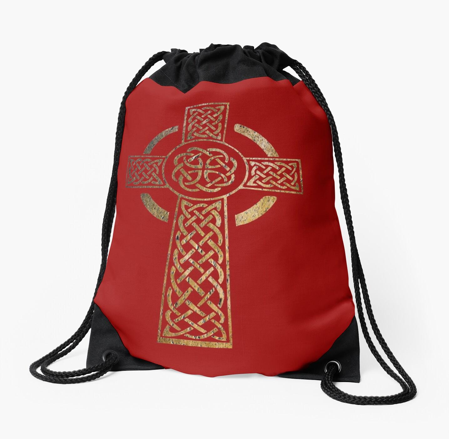 Celtic Cross Pagan Rune Symbol Drawstring Bags By Ice Tees Redbubble
