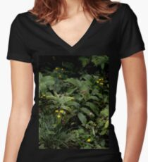 The Green of the Mackinac Island Forest Floor Women's Fitted V-Neck T-Shirt