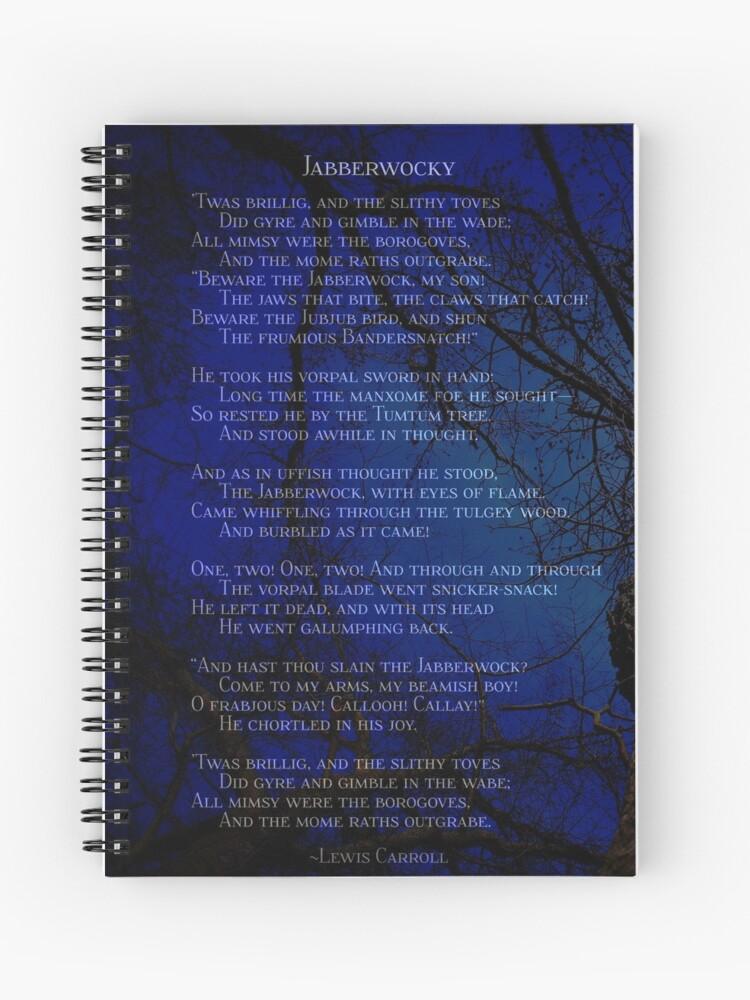 Jabberwocky Lewis Carroll Poem Dark Forest Spiral Notebook