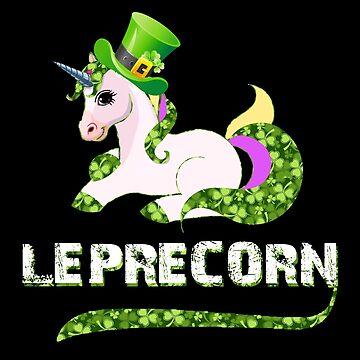 Funny Leprecorn T-Shirt, St Patricks Day Leprechaun Unicorn Gift by KhushbooLohia