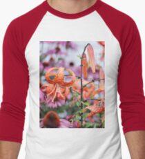 Mackinac Island Tiger Lilies and Echinacea Men's Baseball ¾ T-Shirt