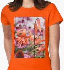 Mackinac Island Tiger Lilies and Echinacea Women's Fitted T-Shirt