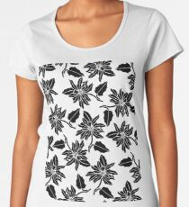 Black white modern vector poinsettia floral pattern Women's Premium T-Shirt