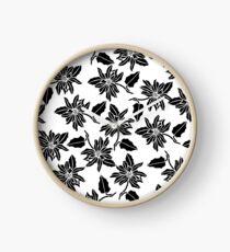 Black white modern vector poinsettia floral pattern Clock