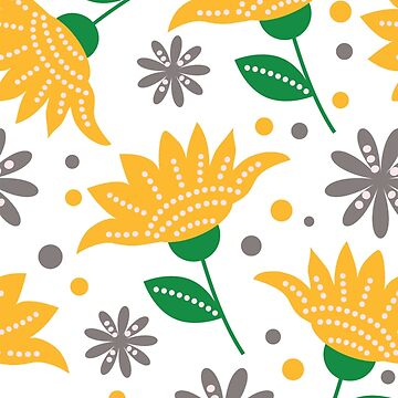 Yellow And Gray Floral Pattern by semas