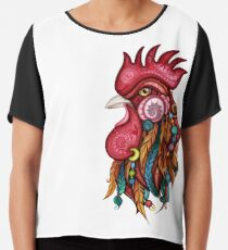 Tribal Rooster Design Chiffon Top
