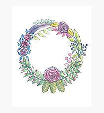 Watercolour Floral Wreath Photographic Print