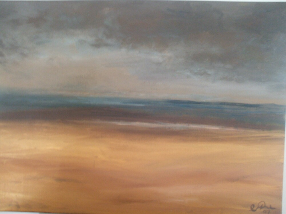Stormy golden beach by Cathy Osborne