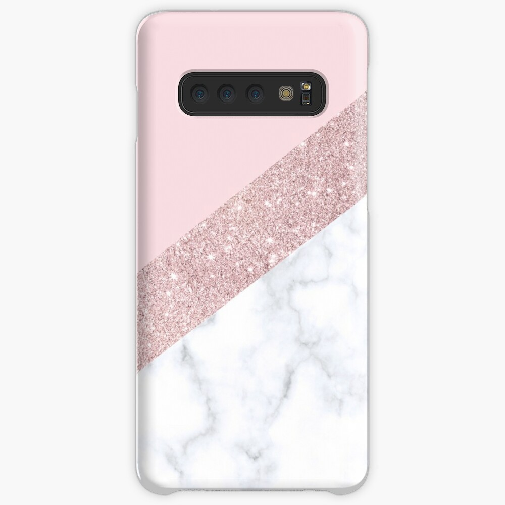 Stylish white marble rose gold glitter pink Case & Skin for Samsung Galaxy