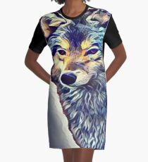 The Tundra Wolf Graphic T-Shirt Dress