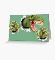 T Rex Dinosaur Claws Tearing Greeting Card