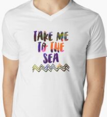 Abstract waves sunset watercolor painting - Colorful tidal Men's V-Neck T-Shirt