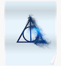Galaxy hallows blue (half sand explosion) - wand, cloak, stone Poster