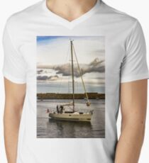 Yacht in Whitby Harbour Men's V-Neck T-Shirt