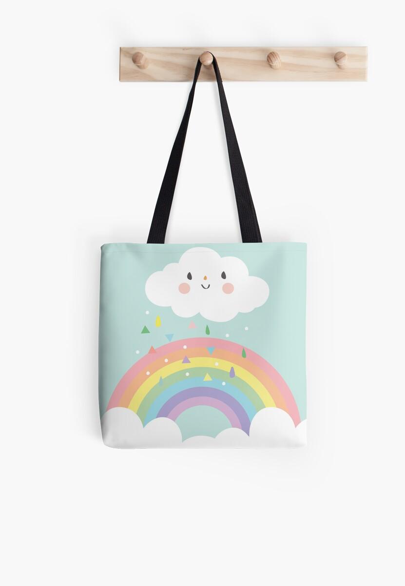 Rainbow happy little cloud pastel rain and sunshine baby nursery art print canvas design by desindie