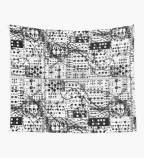 analog synthesizer modular system - black and white illustration Wall Tapestry