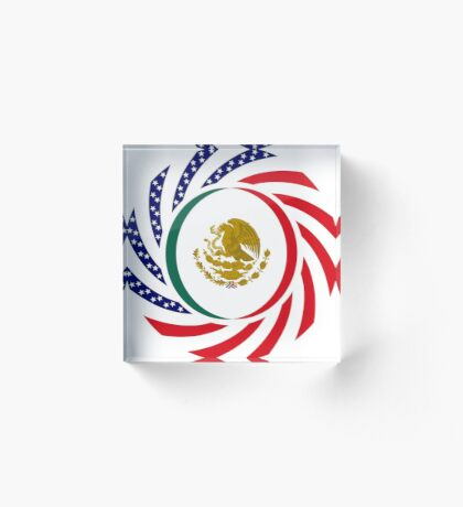 Mexican American Multinational Patriot Flag Series Acrylic Block