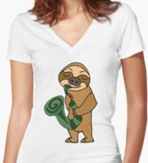 Cool Sloth Playing Saxophone Cartoon Women's Fitted V-Neck T-Shirt