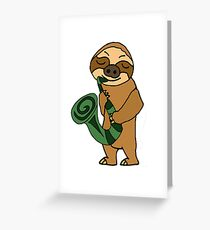 Cool Sloth Playing Saxophone Cartoon Greeting Card