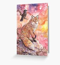 Sunset Fox and Raven Greeting Card
