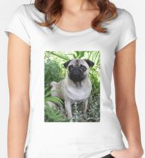 pug fawn sitting Women's Fitted Scoop T-Shirt