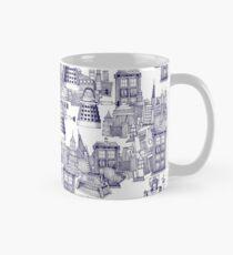 walking doodle toile de jouy blue Mug