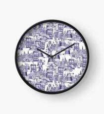 walking doodle toile de jouy blue Clock